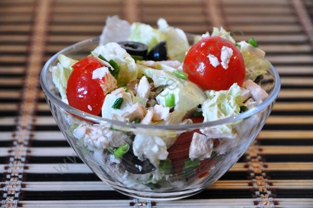 Греческий салат с курицей рецепт с